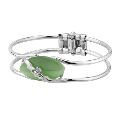 RHODIUM CAT EYE CLADDAGH BANGLE