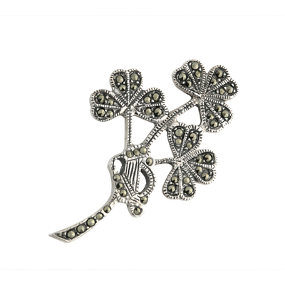 SILVER MARCASITE SHAMROCK SPRAY BROOCH