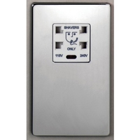 DETA Screwless Shaver Socket Satin Chrome White Insert | LV0201.0213