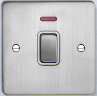 DETA Flat Plate 20Amp double pole switch Satin Chrome with White Insert | LV0201.0193