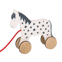 Traditional wooden pull-along toy horse for toddlers