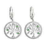 sterling silver crystal illusion tree of life drop earrings s34025 from Solvar