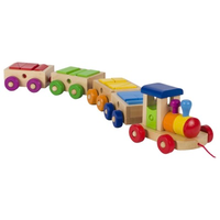 Colourful wooden pull along toy train with 18 building blocks