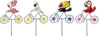 Garden Stick Birds on Bikes (Rotating Windmill) 64.5cm - Mixed D