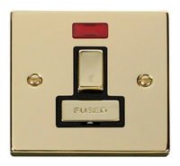 Click Deco Victorian Polished Brass with Black Insert switched Fused Spur with Neon | LV0101.0183