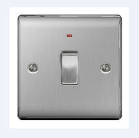 NEXUS BRUSHED STEEL 20A DOUBLE POLE SWITCH WITH NEON INDICATOR