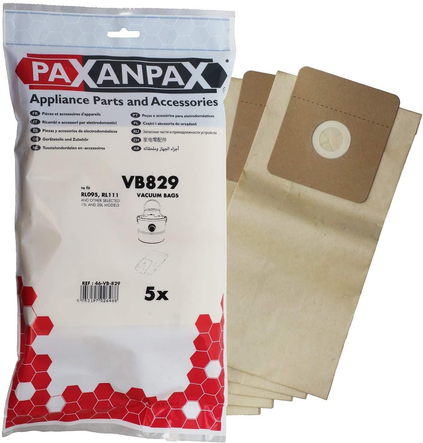 AshVac Bags Rl095 Rl111 Type Ashmaster CV100 15 Litre & 20L Debris Vacuum Cleaner Paper Bags 5 Pack compatible