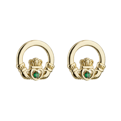 RHODIUM CRYSTAL CLADDDAGH STUD EARRINGS
