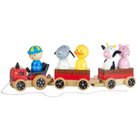 wooden pull along tractor with trailers