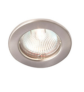 RIDA 50W Brushed Chrome GU10 pressed steel downlight, IP20, 60mm,