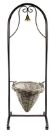 Welcome Planter Basket Stand with Bell - Grey