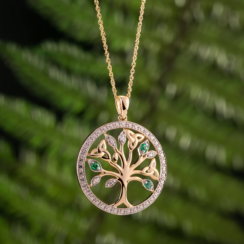styled image of Solvar gold dimond and emerald Celtic Tree of Life pendant S46105
