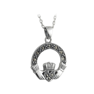 S/S MARCASITE SMALL CLADDAGH PENDANT