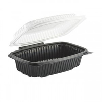 "Culinary Classic Hinged Clamshell 1 Compartment Black 9""x6""x3"""