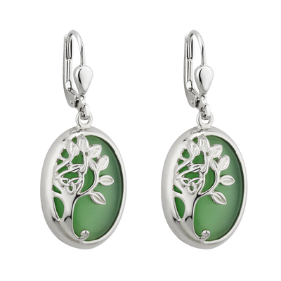 RHODIUM GREEN TREE OF LIFE DROP EARRINGS