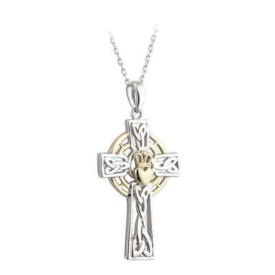 SILVER 10K GOLD CLADDAGH CROSS PENDANT(BOXED)