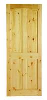 """Curved 4 Panel Top Solid Red Deal Door 6 Foot 6"""" X 2 Foot 4"""""""