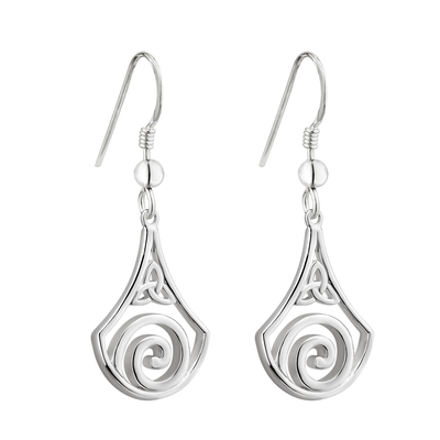 S/S CELTIC SWIRL TRINITY DROP EARRINGS