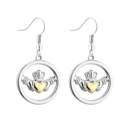 TWO TONE LARGE CLADDAGH CIRCLE EARRINGS