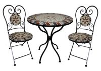 Mosaic Bistro Set Burgundy Leaf