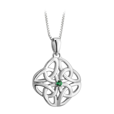 S/S CRYSTAL CELTIC KNOT PENDANT