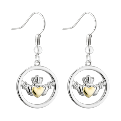 TWO TONE CLADDAGH CIRCLE EARRINGS