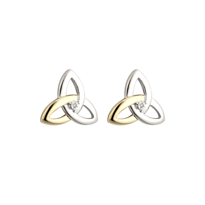 10K GOLD & DIAMOND SILVER TRINITY KNOT STUD EARRINGS(BOXED)