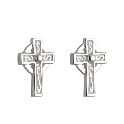 STERLING SILVER CROSS STUD EARRINGS(BOXED)