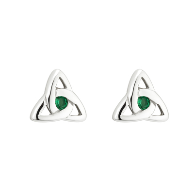 S/S GREEN CRYSTAL TRINITY KNOT STUD EARRINGS(BOXED)