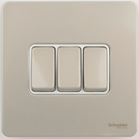 Schneider Ultimate Screwless 3Gang 2way Switch Pearl Nickel white|LV0701.0912