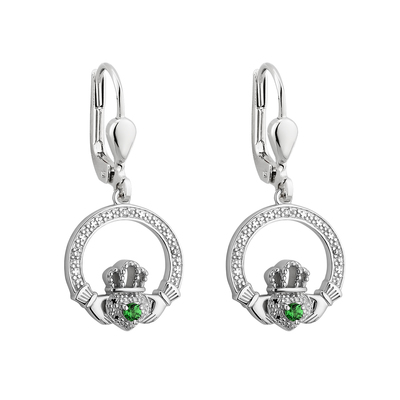 S/S CRYSTAL ILLUSION CLADDAGH DROP EARRINGS
