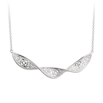 STERLING SILVER TRINITY KNOT TWIST PENDANT(BOXED)