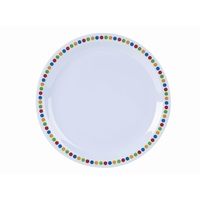 Plate Melamine Coloured Circles 23cm Carton of 12