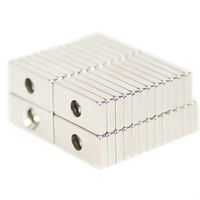 NEODYMIUM MAGNETS | RECTANGULAR WITH COUNTERSUNK HOLE 20X10X3MM N35 NICKEL