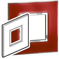 Arteor (British Standard) Plate 2 Module 1 Gang Square Mirror Red| LV0501.0770