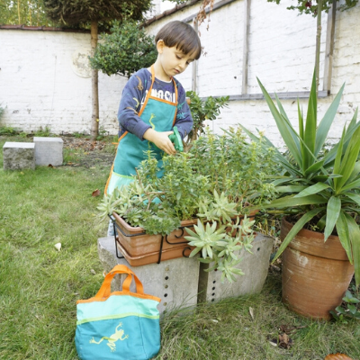 child playing with frog garden set
