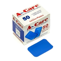 Metal Detectable Plasters - A-care Economy Large Patch Dressing, X50, Blue