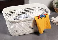 Rattan Laundry Basket Milk White (W60 X D40 X H26 Cm)