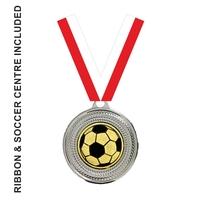 40mm Soccer Medal & RED Ribbon (Silver)