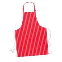 Butchers Striped Bib Apron Red/White - S839