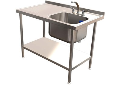Single Bowl Sink 1200mm x 700mm x 900mm Left Hand Drainer 500mm Bowl