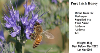 Purple flower & Bee Honey Label (Pack of 200)