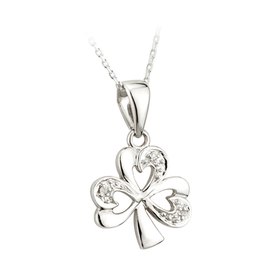 14K WHITE DIAMOND SHAMROCK