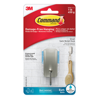 Command Satin Nickel Bath Small Hook