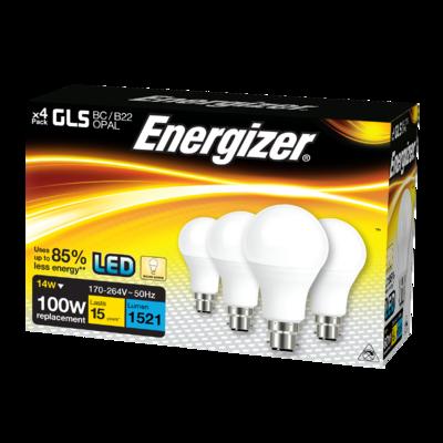 ENERGIZER 4 PACK LED 15W (100W) 1500 LUMEN BC GLS LAMP WARM WHITE