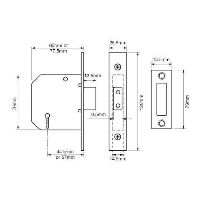 CLASSIC 3 LEVER DEADLOCK BRASS, Y2177-PL-2.50
