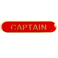 Captain - Bar Shaped School Badge (Red)