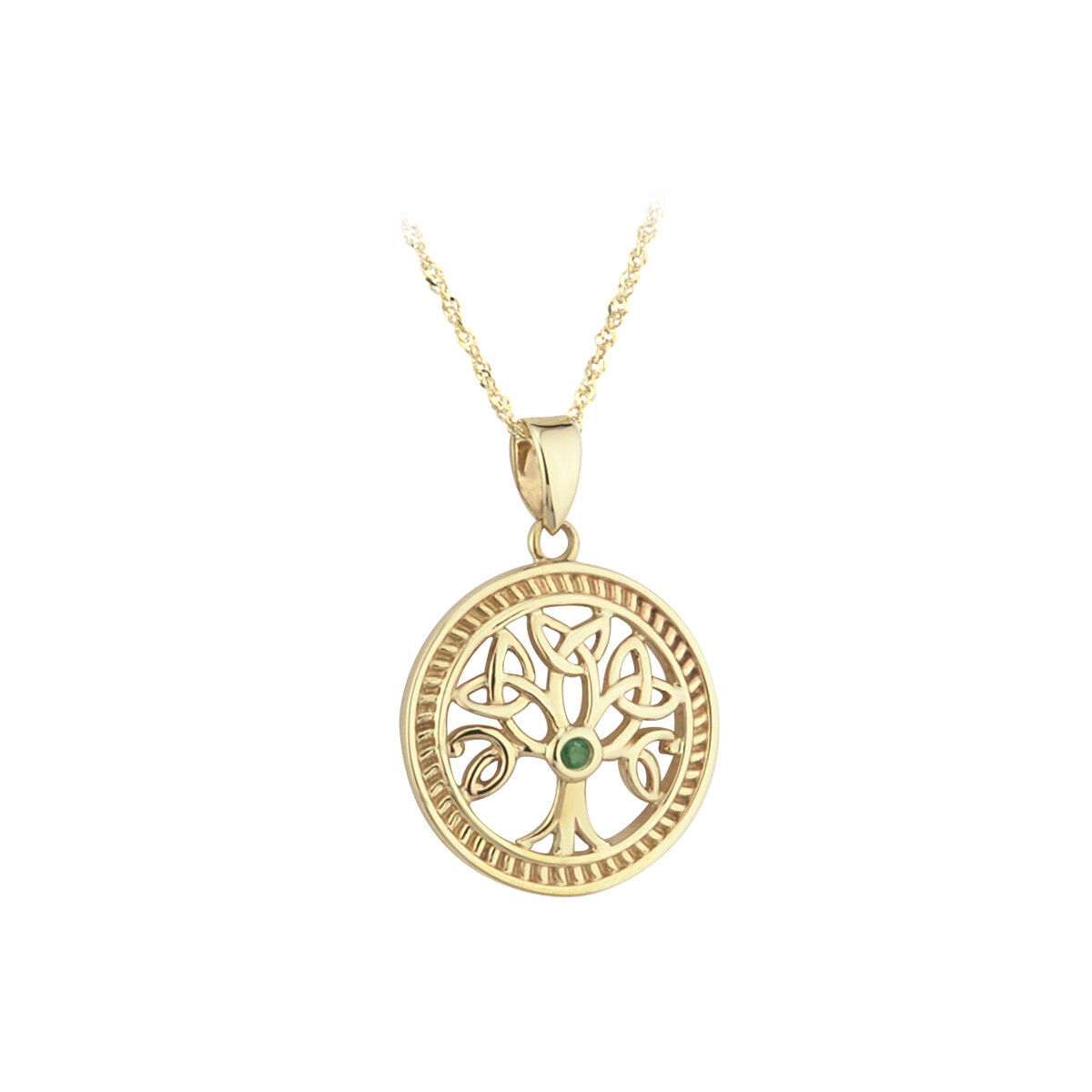 10k gold emerald tree of life pendant s45143 from Solvar