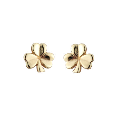 10k gold shamrock stud small earrings s3765 from Solvar