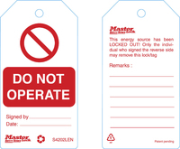"""Master Lock Guardian Extreme™ tag """"do not operate"""" (6 tags/pack) uk regulations"""